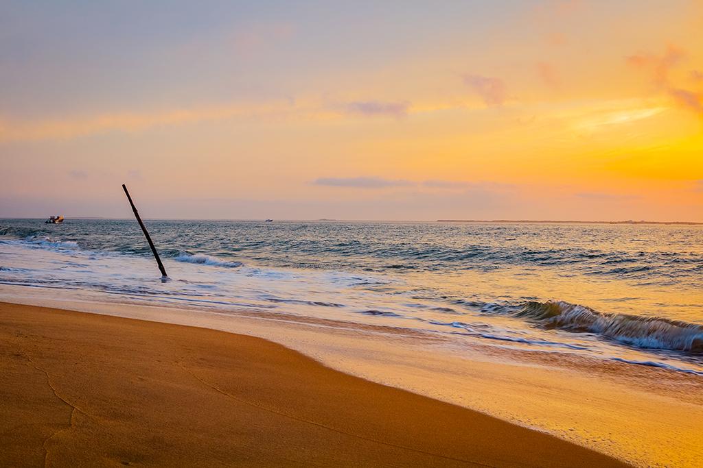 Photographie paysage Pyla au coucher du soleil avec la mer et la plage