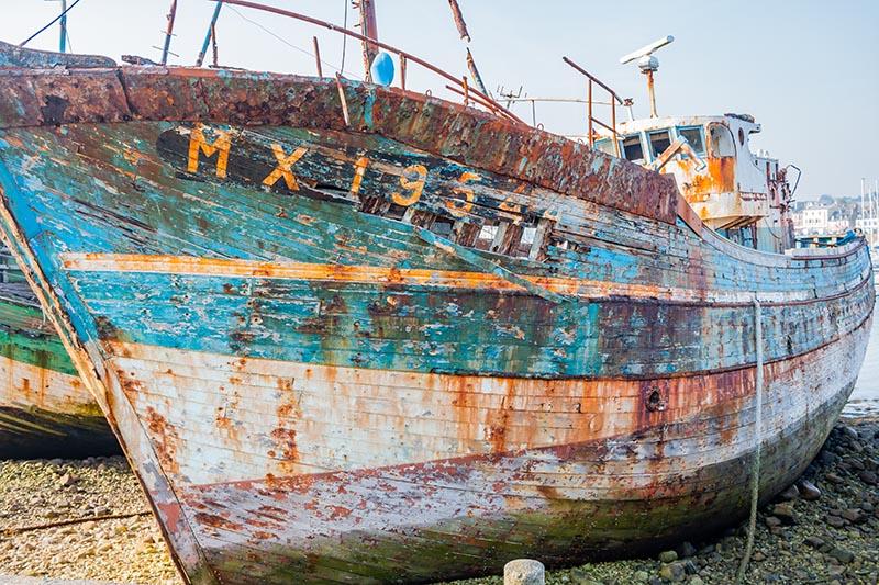 Photographie Paysage bateau échoué sur le port de Camaret