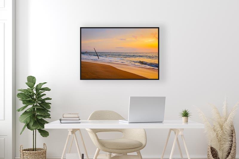 Photo art nature Pyla coucher de soleil en été sur la mer mise en situation Bureau décoration murale