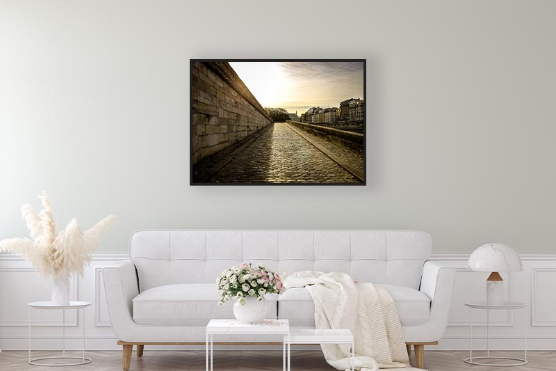 Encadrement photo art Chemin de paradis mise en scène au-dessus d'un canapé pour galerie d'art en ligne guillot images